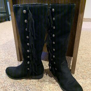 Black suede fringe boots with silver embellishment